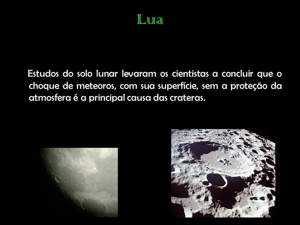 Lua Estudos do solo lunar levaram os cientistas a concluir que o choque de meteoros, com sua superfície, sem a proteção da atmosfera é a principal causa das crateras.