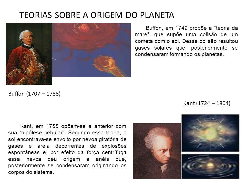 """Buffon (1707 – 1788) Kant (1724 – 1804) Buffon, em 1749 propõe a """"teoria da maré"""", que supõe uma colisão de um cometa com o sol. Dessa colisão resulto"""