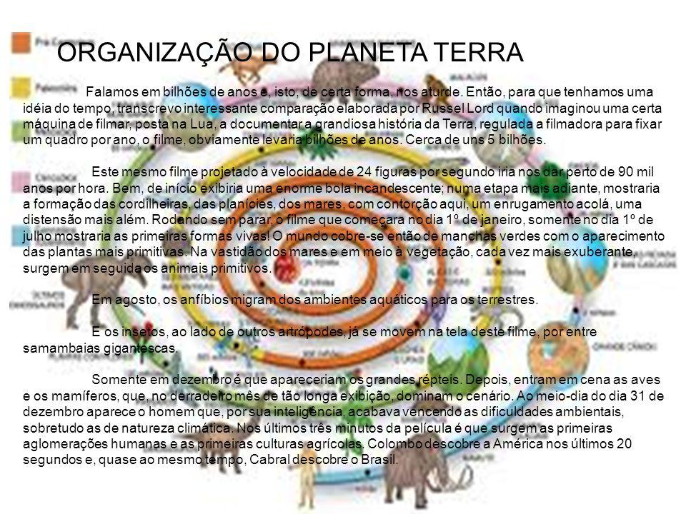 ORGANIZAÇÃO DO PLANETA TERRA Falamos em bilhões de anos e, isto, de certa forma, nos aturde. Então, para que tenhamos uma idéia do tempo, transcrevo i
