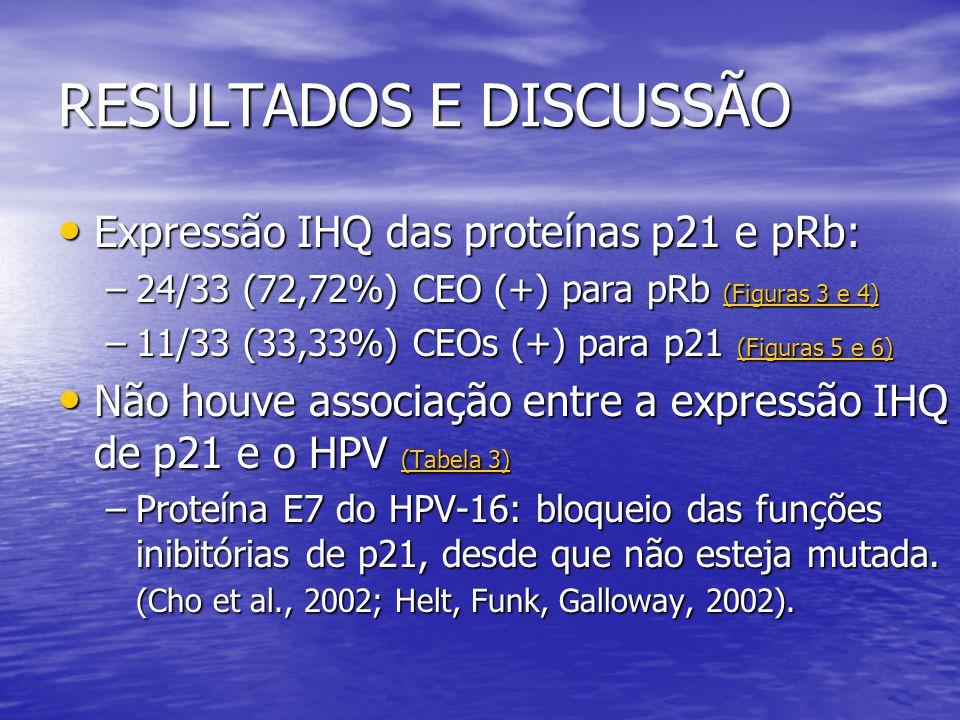 RESULTADOS E DISCUSSÃO • Observou-se maior expressão IHQ de pRb nos CEOs HPV positivos.