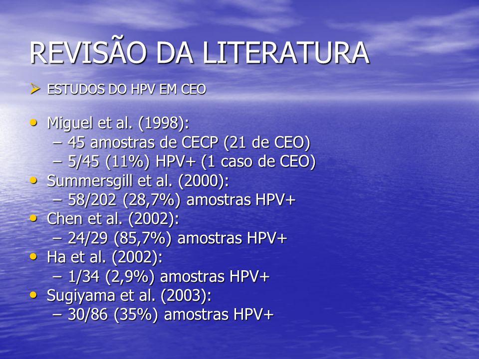 REVISÃO DA LITERATURA • Correnti et al.(2004): –8/16 (50%) amostras HPV+ • Braakhuis et al.