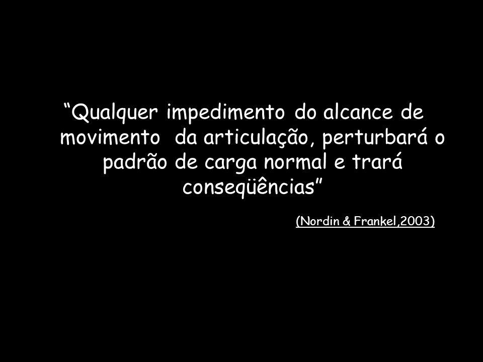 """""""Qualquer impedimento do alcance de movimento da articulação, perturbará o padrão de carga normal e trará conseqüências"""" (Nordin & Frankel,2003)"""