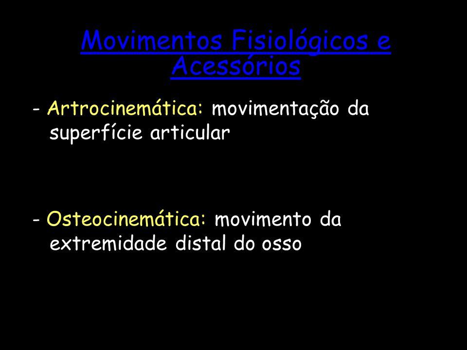 Movimentos Fisiológicos e Acessórios - Artrocinemática: movimentação da superfície articular - Osteocinemática: movimento da extremidade distal do oss