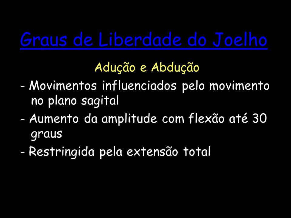Graus de Liberdade do Joelho Adução e Abdução - Movimentos influenciados pelo movimento no plano sagital - Aumento da amplitude com flexão até 30 grau