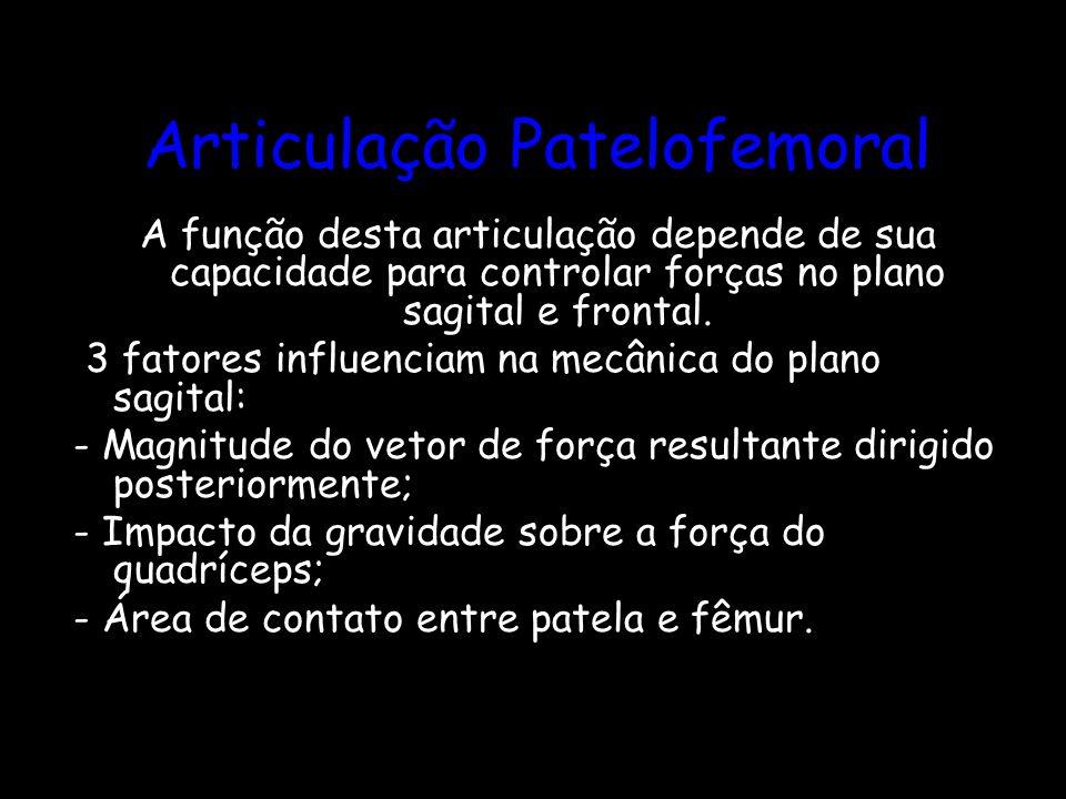 Articulação Patelofemoral A função desta articulação depende de sua capacidade para controlar forças no plano sagital e frontal. 3 fatores influenciam