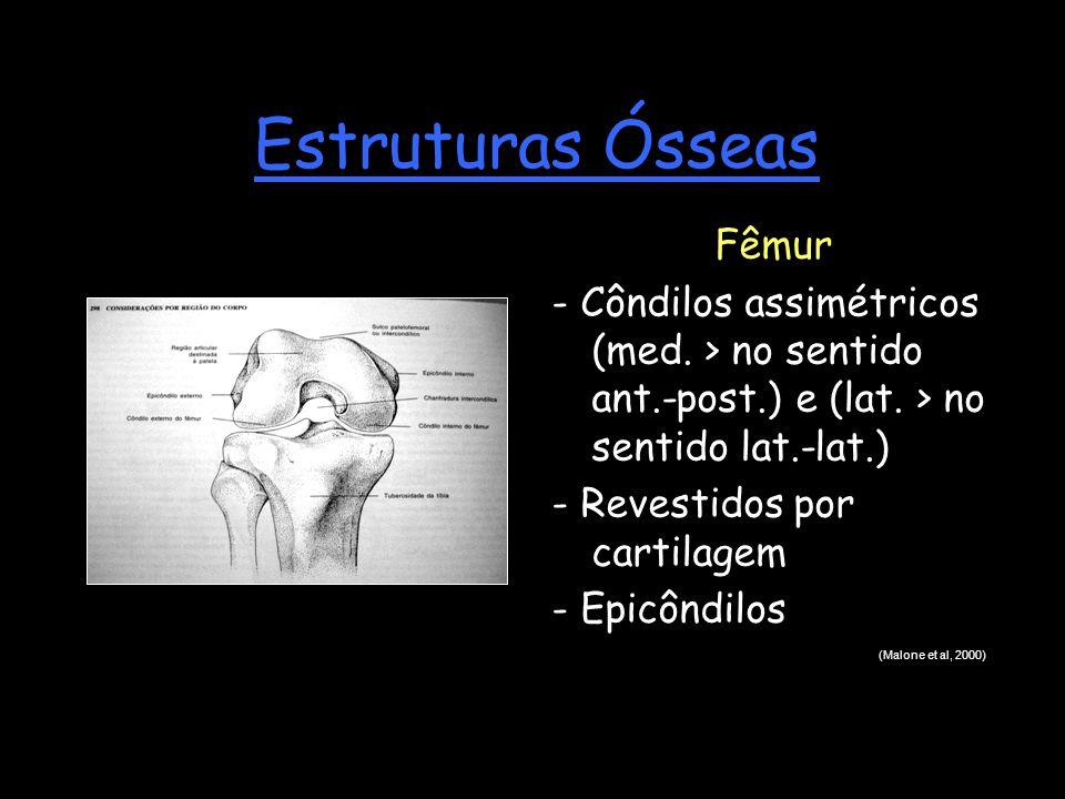 Estruturas Ósseas Fêmur - Côndilos assimétricos (med. > no sentido ant.-post.) e (lat. > no sentido lat.-lat.) - Revestidos por cartilagem - Epicôndil