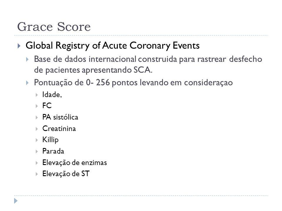 Grace Score  Global Registry of Acute Coronary Events  Base de dados internacional construida para rastrear desfecho de pacientes apresentando SCA.