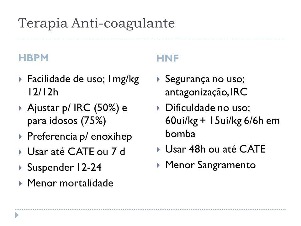 Terapia Anti-coagulante HBPM HNF  Facilidade de uso; 1mg/kg 12/12h  Ajustar p/ IRC (50%) e para idosos (75%)  Preferencia p/ enoxihep  Usar até CA