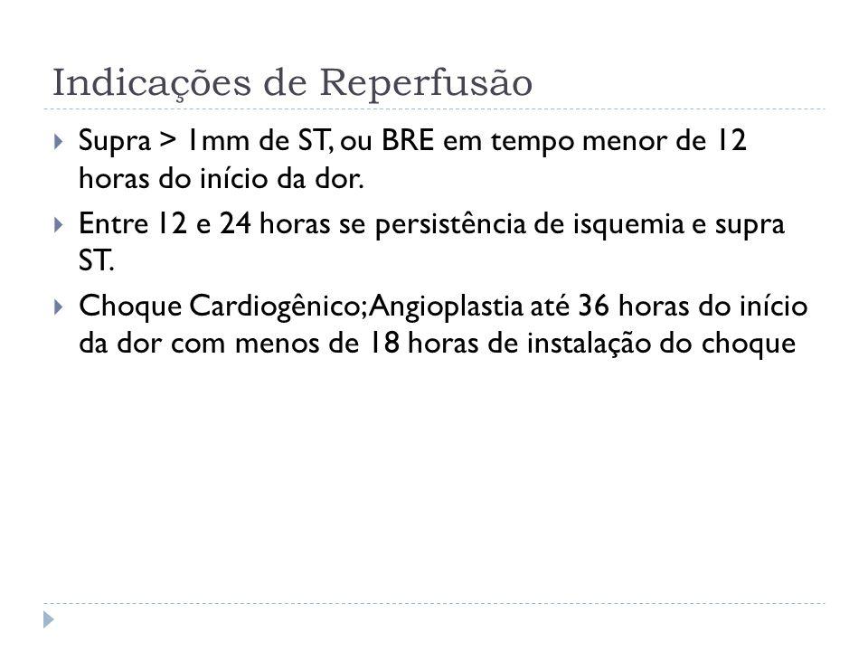 Indicações de Reperfusão  Supra > 1mm de ST, ou BRE em tempo menor de 12 horas do início da dor.  Entre 12 e 24 horas se persistência de isquemia e