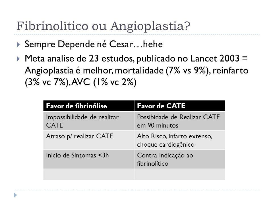 Fibrinolítico ou Angioplastia?  Sempre Depende né Cesar…hehe  Meta analise de 23 estudos, publicado no Lancet 2003 = Angioplastia é melhor, mortalid