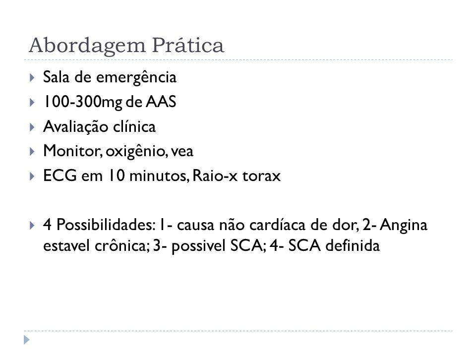 Abordagem Prática  Sala de emergência  100-300mg de AAS  Avaliação clínica  Monitor, oxigênio, vea  ECG em 10 minutos, Raio-x torax  4 Possibili