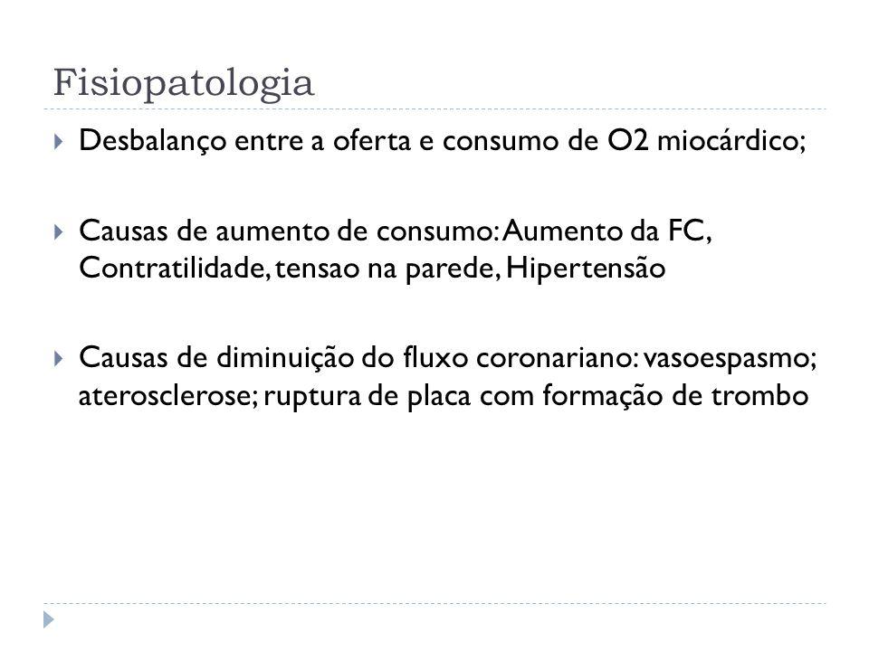 Fisiopatologia  Desbalanço entre a oferta e consumo de O2 miocárdico;  Causas de aumento de consumo: Aumento da FC, Contratilidade, tensao na parede
