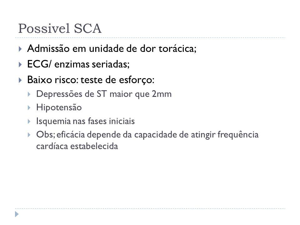 Possivel SCA  Admissão em unidade de dor torácica;  ECG/ enzimas seriadas;  Baixo risco: teste de esforço:  Depressões de ST maior que 2mm  Hipot