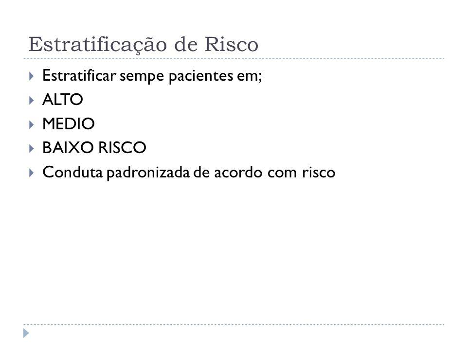 Estratificação de Risco  Estratificar sempe pacientes em;  ALTO  MEDIO  BAIXO RISCO  Conduta padronizada de acordo com risco