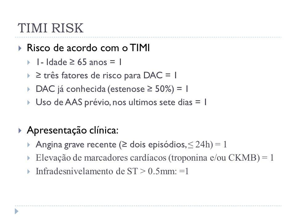 TIMI RISK  Risco de acordo com o TIMI  1- Idade ≥ 65 anos = 1  ≥ três fatores de risco para DAC = 1  DAC já conhecida (estenose ≥ 50%) = 1  Uso d