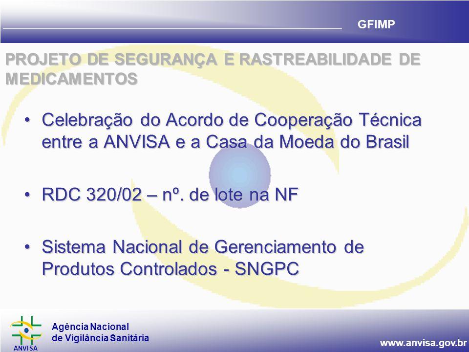 Agência Nacional de Vigilância Sanitária ANVISA www.anvisa.gov.br GFIMP PROJETO DE SEGURANÇA E RASTREABILIDADE DE MEDICAMENTOS •Celebração do Acordo de Cooperação Técnica entre a ANVISA e a Casa da Moeda do Brasil •RDC 320/02 – nº.