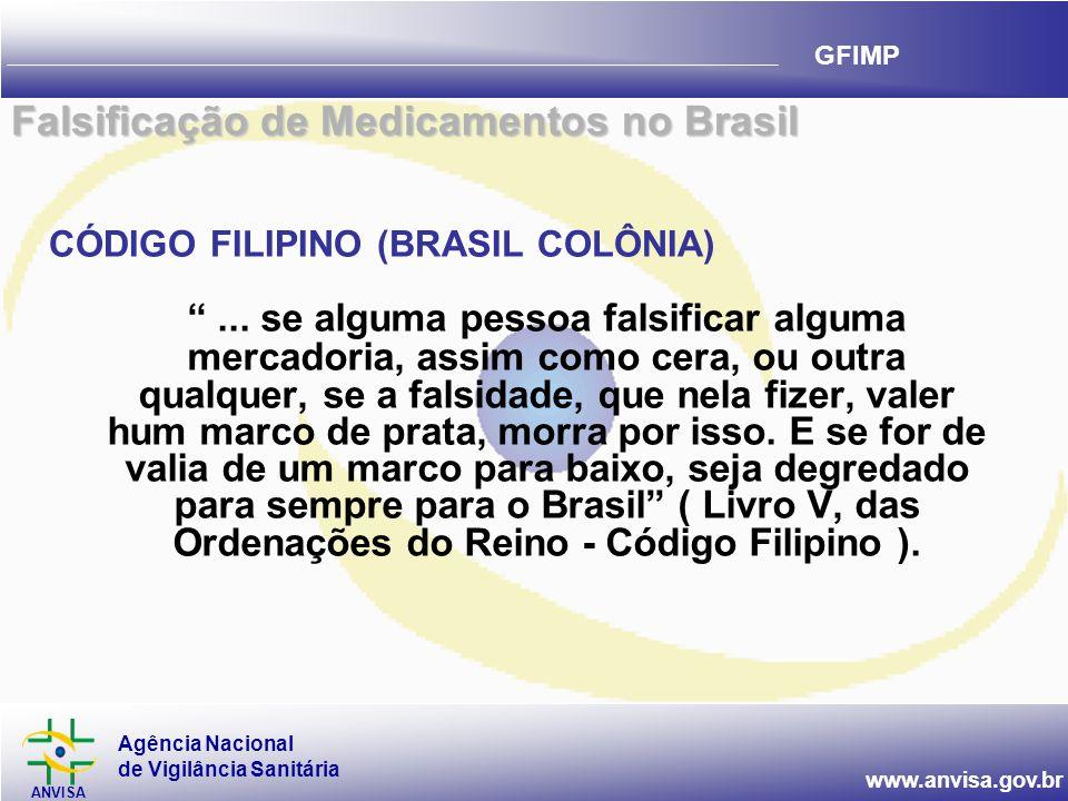"""Agência Nacional de Vigilância Sanitária ANVISA www.anvisa.gov.br GFIMP CÓDIGO FILIPINO (BRASIL COLÔNIA) """"... se alguma pessoa falsificar alguma merca"""