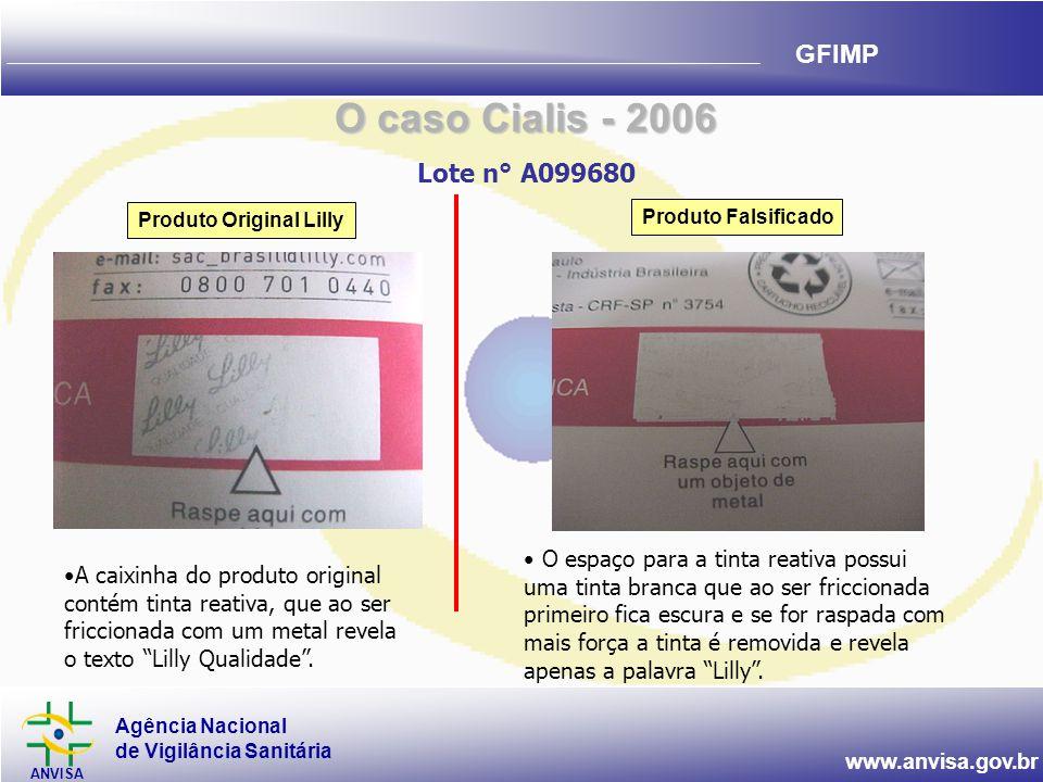 Agência Nacional de Vigilância Sanitária ANVISA www.anvisa.gov.br GFIMP Produto Original Lilly Produto Falsificado •A caixinha do produto original con