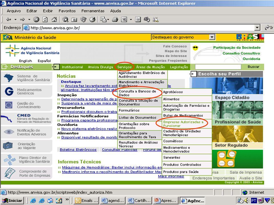 Agência Nacional de Vigilância Sanitária ANVISA www.anvisa.gov.br GFIMP SITE DA ANVISA - AFE