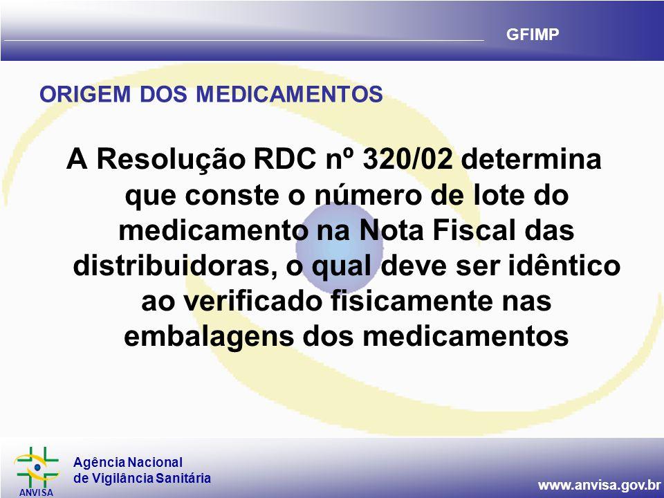 Agência Nacional de Vigilância Sanitária ANVISA www.anvisa.gov.br GFIMP ORIGEM DOS MEDICAMENTOS A Resolução RDC nº 320/02 determina que conste o númer