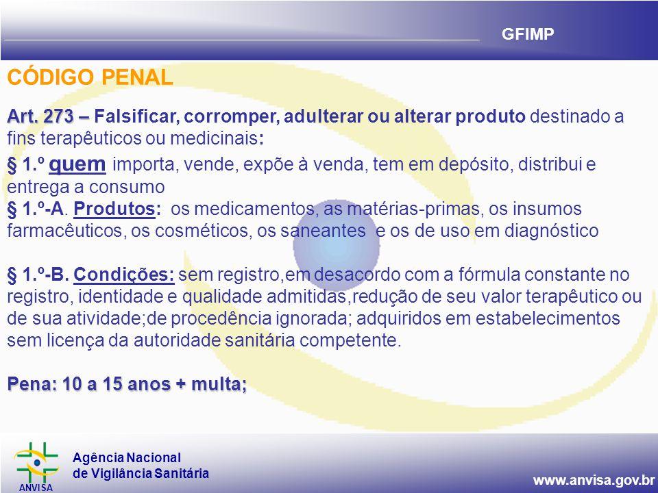 Agência Nacional de Vigilância Sanitária ANVISA www.anvisa.gov.br GFIMP Art. 273 – Art. 273 – Falsificar, corromper, adulterar ou alterar produto dest