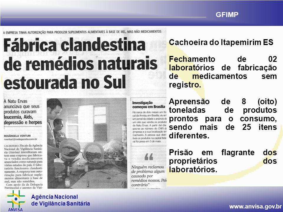 Agência Nacional de Vigilância Sanitária ANVISA www.anvisa.gov.br GFIMP Cachoeira do Itapemirim ES Fechamento de 02 laboratórios de fabricação de medicamentos sem registro.