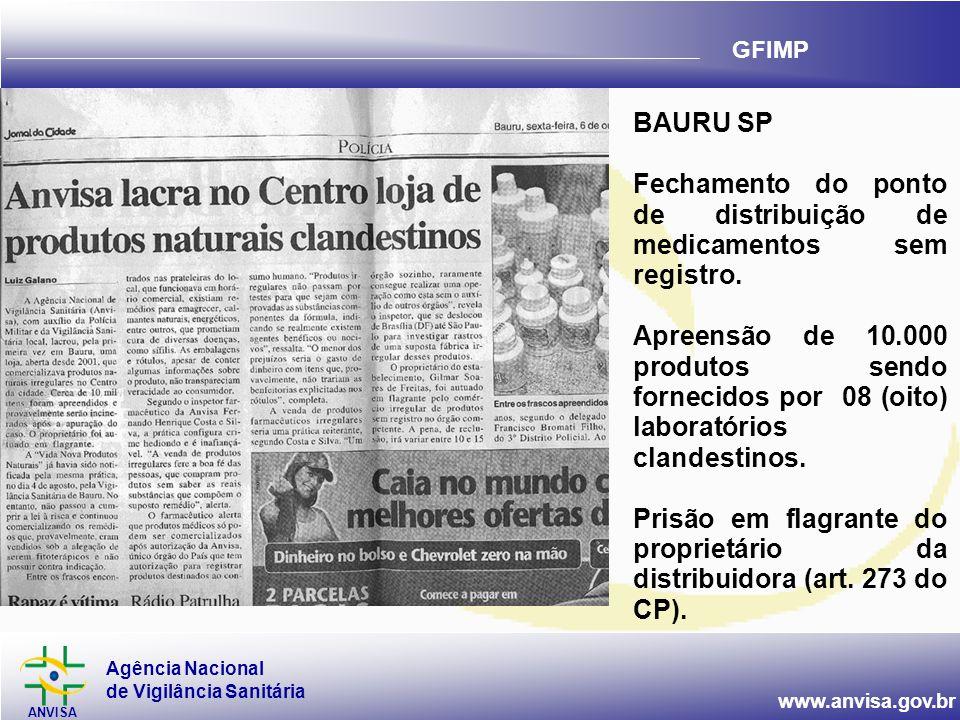 Agência Nacional de Vigilância Sanitária ANVISA www.anvisa.gov.br GFIMP BAURU SP Fechamento do ponto de distribuição de medicamentos sem registro. Apr
