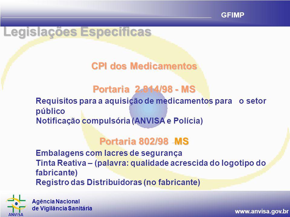 Agência Nacional de Vigilância Sanitária ANVISA www.anvisa.gov.br GFIMP CPI dos Medicamentos Portaria 2.814/98 - MS Requisitos para a aquisição de medicamentos parao setor público Notificação compulsória (ANVISA e Polícia) Portaria 802/98 -MS Embalagens com lacres de segurança Tinta Reativa – (palavra: qualidade acrescida do logotipo do fabricante) Registro das Distribuidoras (no fabricante) Legislações Específicas