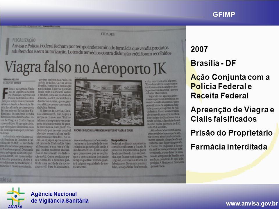 Agência Nacional de Vigilância Sanitária ANVISA www.anvisa.gov.br GFIMP 2007 Brasília - DF Ação Conjunta com a Policia Federal e Receita Federal Apree