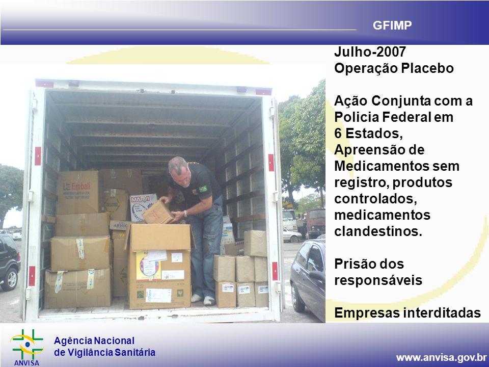 Agência Nacional de Vigilância Sanitária ANVISA www.anvisa.gov.br GFIMP Julho-2007 Operação Placebo Ação Conjunta com a Policia Federal em 6 Estados, Apreensão de Medicamentos sem registro, produtos controlados, medicamentos clandestinos.