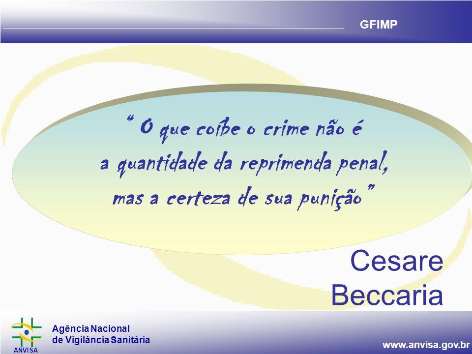 Agência Nacional de Vigilância Sanitária ANVISA www.anvisa.gov.br GFIMP Cesare Beccaria O que coíbe o crime não é a quantidade da reprimenda penal, mas a certeza de sua punição