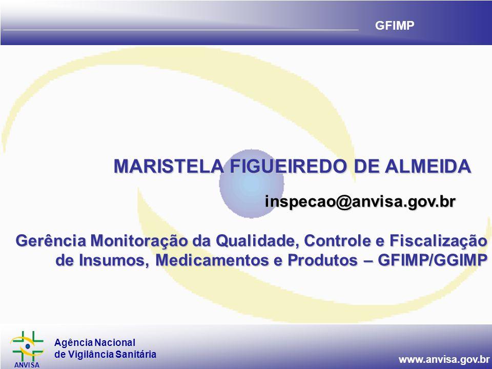 Agência Nacional de Vigilância Sanitária ANVISA www.anvisa.gov.br GFIMP Gerência Monitoração da Qualidade, Controle e Fiscalização de Insumos, Medicam