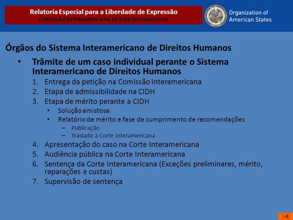 Órgãos do Sistema Interamericano de Direitos Humanos • Trâmite de um caso individual perante o Sistema Interamericano de Direitos Humanos 1.Entrega da