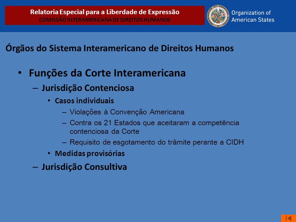 Órgãos do Sistema Interamericano de Direitos Humanos • Funções da Corte Interamericana – Jurisdição Contenciosa • Casos individuais – Violações à Conv