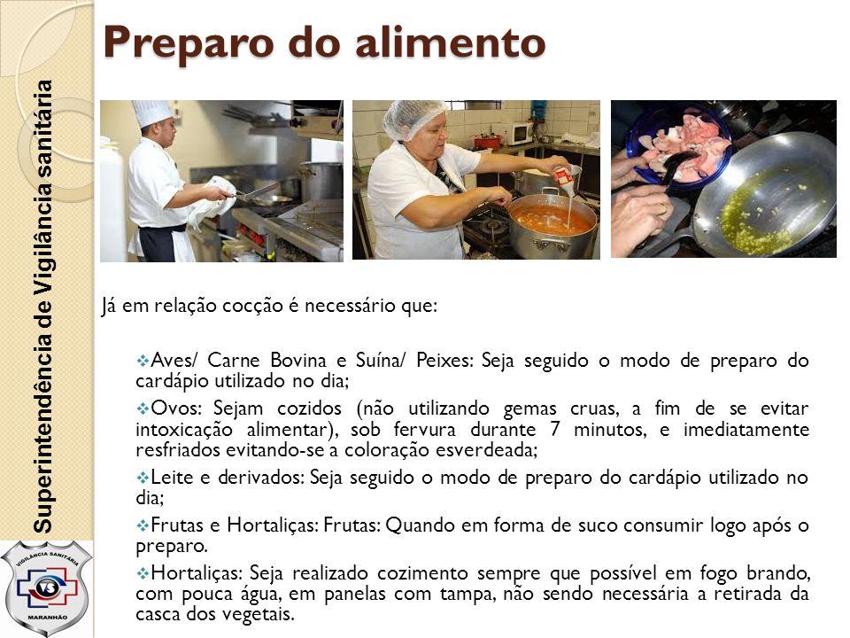 Preparo do alimento Já em relação cocção é necessário que:  Aves/ Carne Bovina e Suína/ Peixes: Seja seguido o modo de preparo do cardápio utilizado