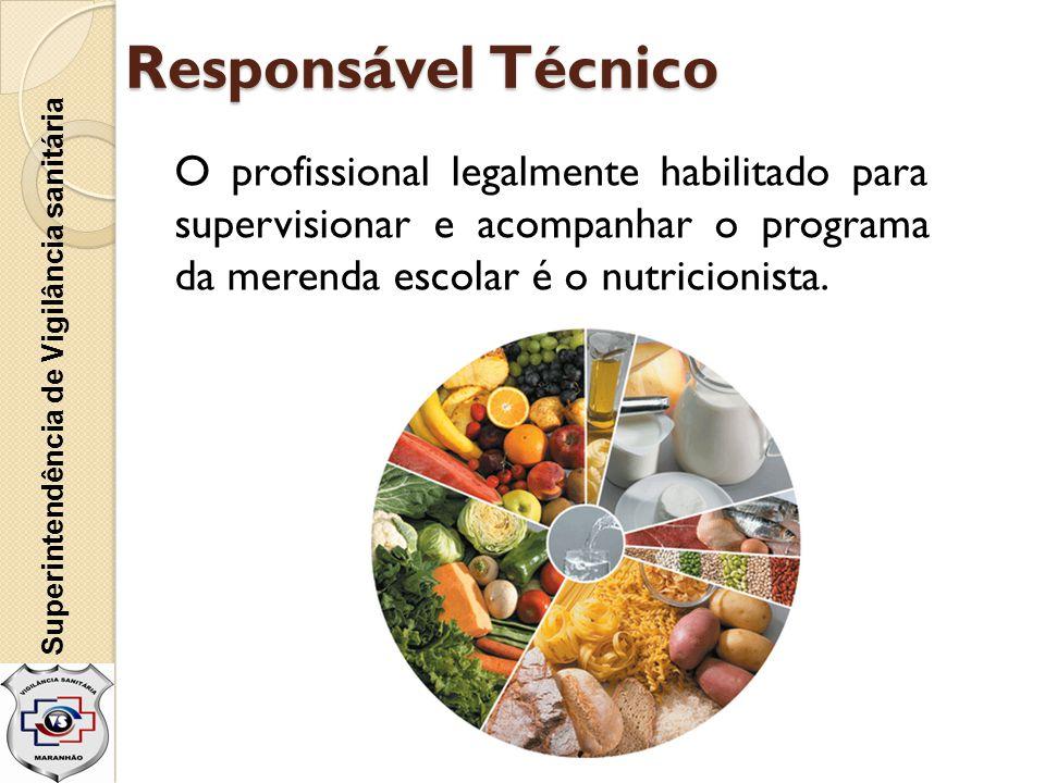 Responsável Técnico O profissional legalmente habilitado para supervisionar e acompanhar o programa da merenda escolar é o nutricionista. Superintendê