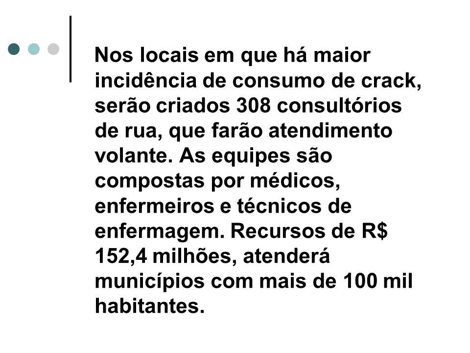 Nos locais em que há maior incidência de consumo de crack, serão criados 308 consultórios de rua, que farão atendimento volante.