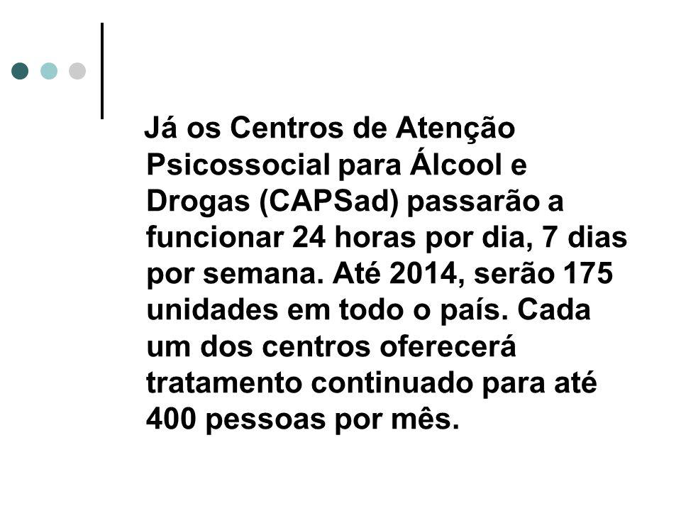 Já os Centros de Atenção Psicossocial para Álcool e Drogas (CAPSad) passarão a funcionar 24 horas por dia, 7 dias por semana.