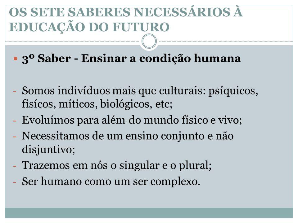OS SETE SABERES NECESSÁRIOS À EDUCAÇÃO DO FUTURO  3º Saber - Ensinar a condição humana - Somos indivíduos mais que culturais: psíquicos, fisícos, mít