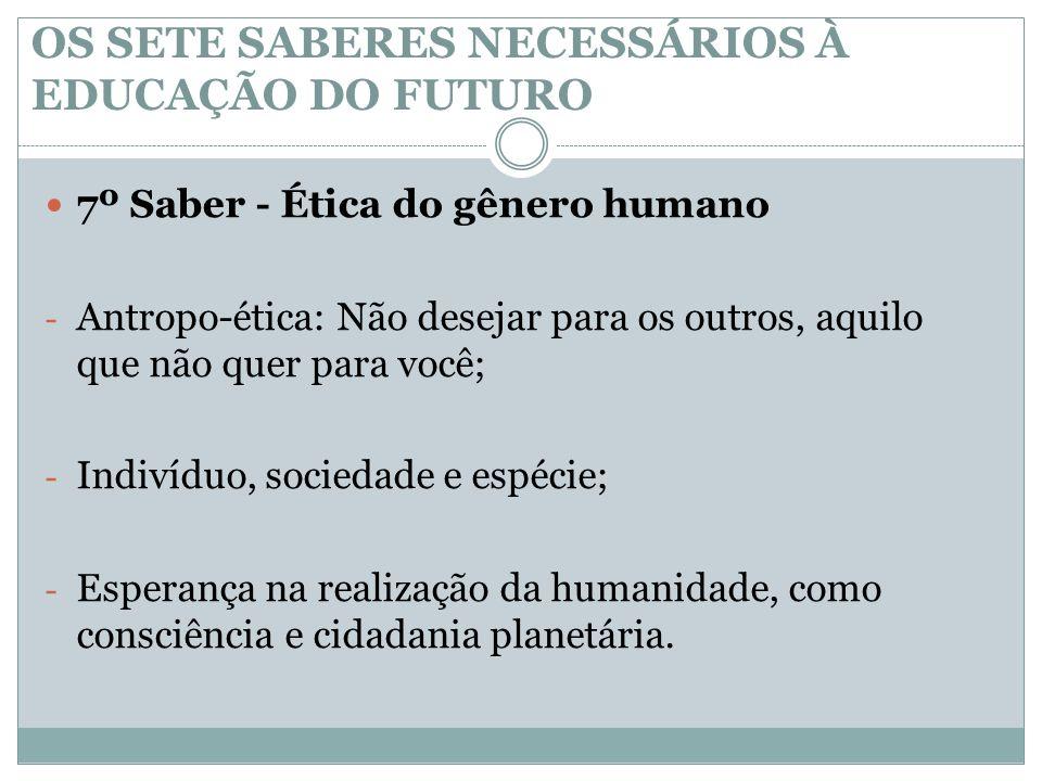 OS SETE SABERES NECESSÁRIOS À EDUCAÇÃO DO FUTURO  7º Saber - Ética do gênero humano - Antropo-ética: Não desejar para os outros, aquilo que não quer