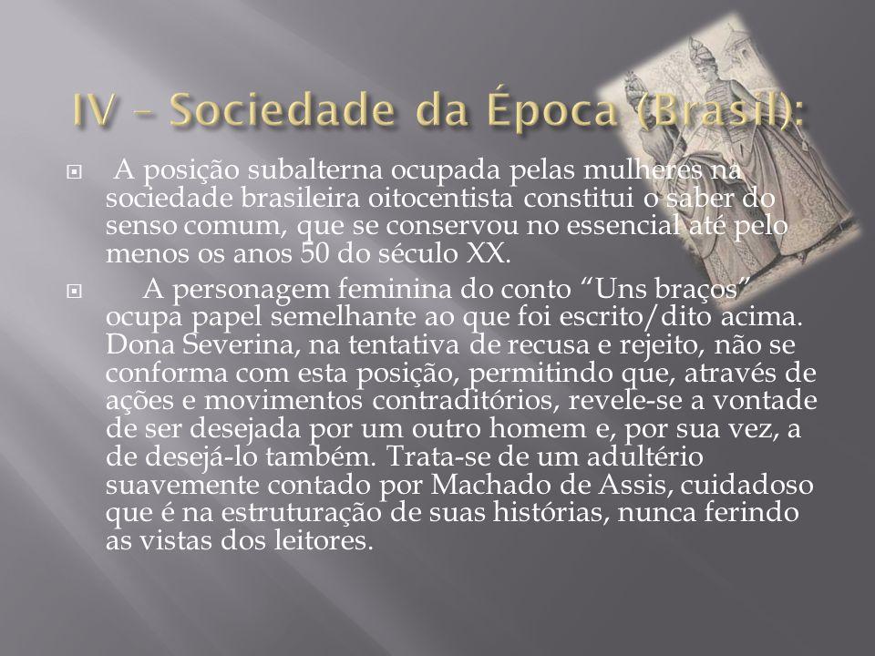  A posição subalterna ocupada pelas mulheres na sociedade brasileira oitocentista constitui o saber do senso comum, que se conservou no essencial até