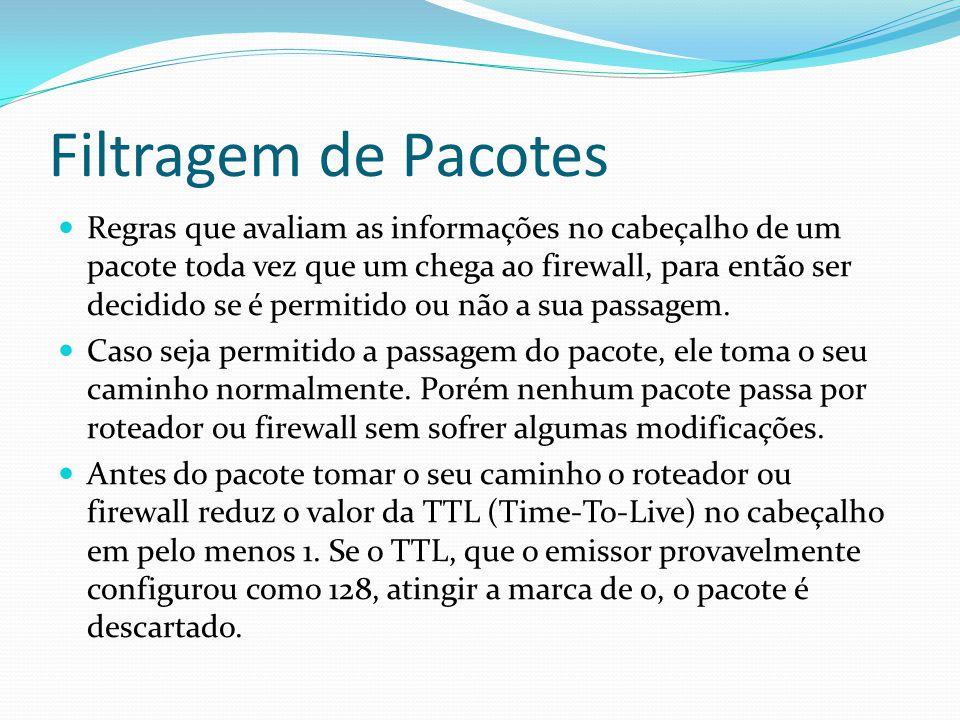 Filtragem de Pacotes  Regras que avaliam as informações no cabeçalho de um pacote toda vez que um chega ao firewall, para então ser decidido se é per