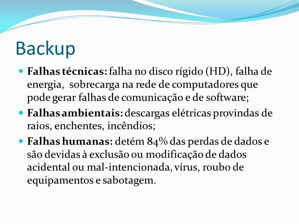Backup  Falhas técnicas: falha no disco rígido (HD), falha de energia, sobrecarga na rede de computadores que pode gerar falhas de comunicação e de s