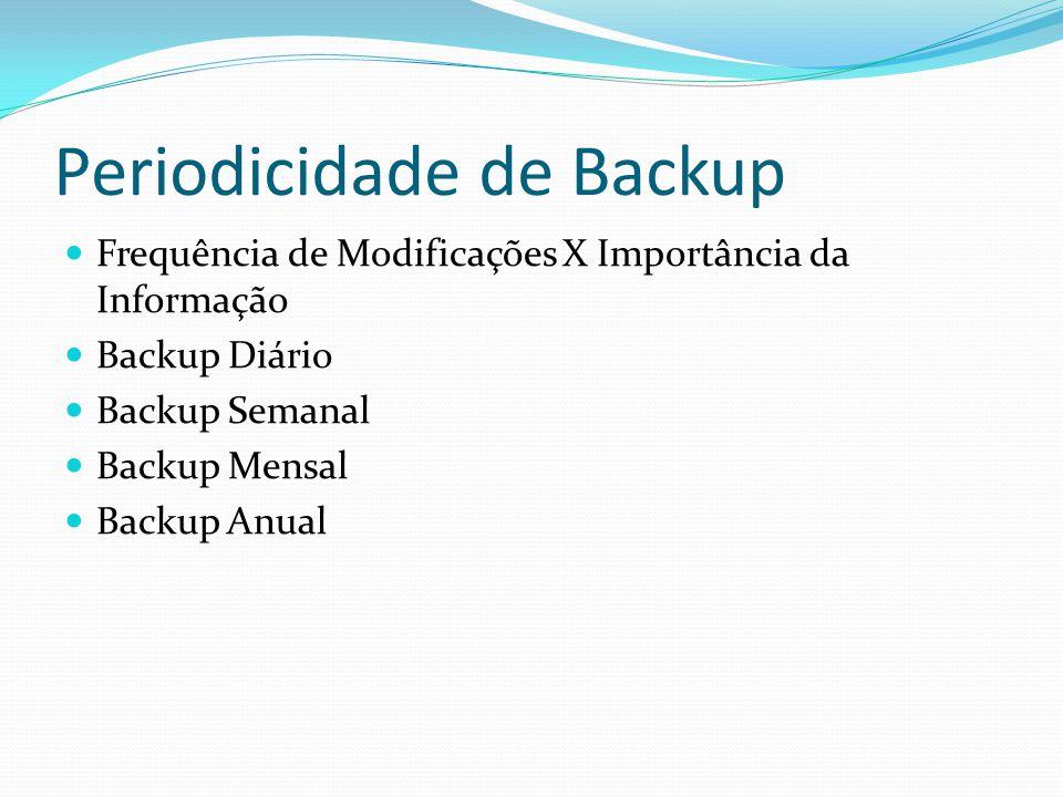 Periodicidade de Backup  Frequência de Modificações X Importância da Informação  Backup Diário  Backup Semanal  Backup Mensal  Backup Anual
