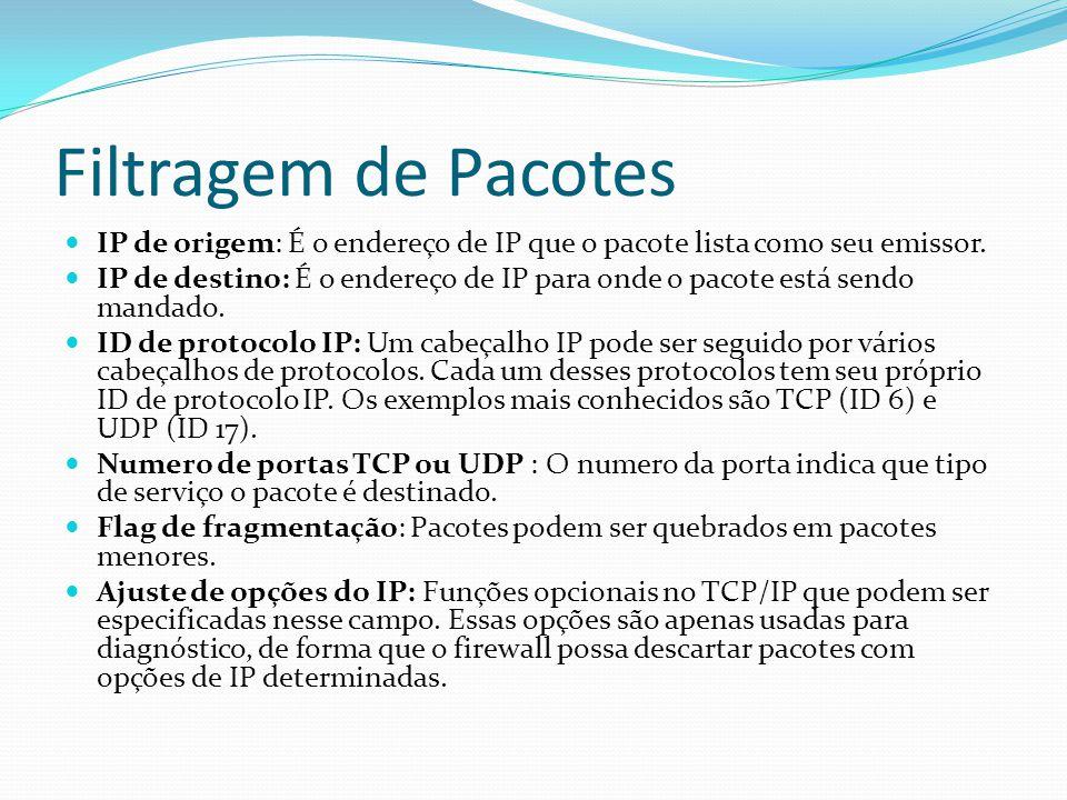 Filtragem de Pacotes  IP de origem: É o endereço de IP que o pacote lista como seu emissor.  IP de destino: É o endereço de IP para onde o pacote es