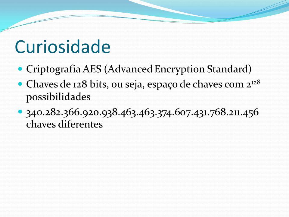 Curiosidade  Criptografia AES (Advanced Encryption Standard)  Chaves de 128 bits, ou seja, espaço de chaves com 2 128 possibilidades  340.282.366.9