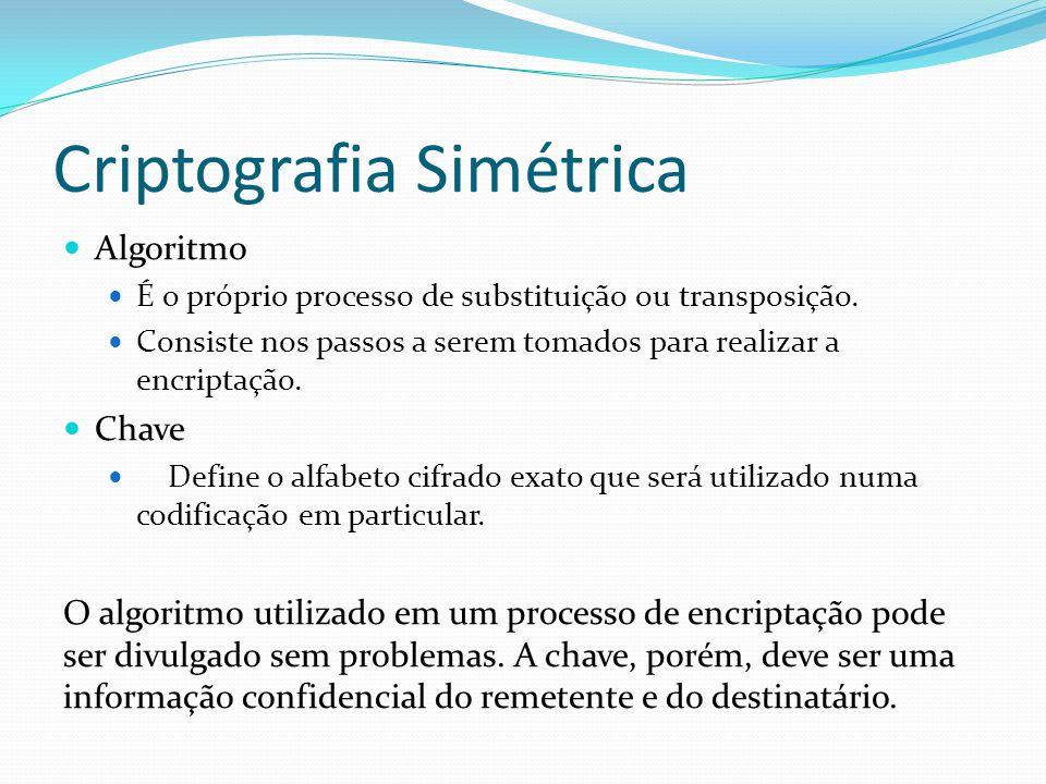 Criptografia Simétrica  Algoritmo  É o próprio processo de substituição ou transposição.  Consiste nos passos a serem tomados para realizar a encri