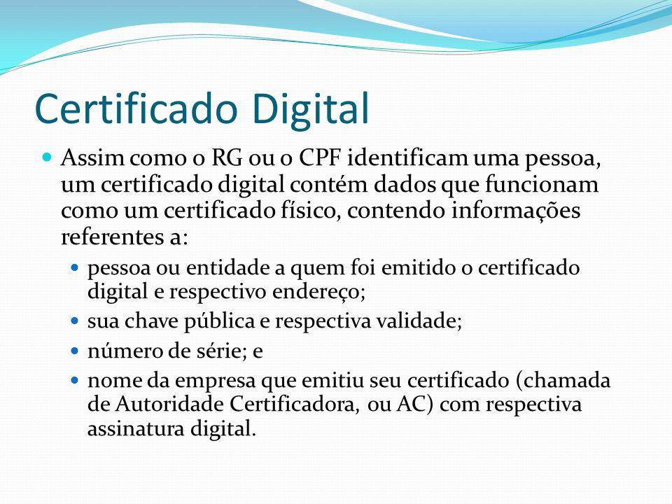 Certificado Digital  Assim como o RG ou o CPF identificam uma pessoa, um certificado digital contém dados que funcionam como um certificado físico, c