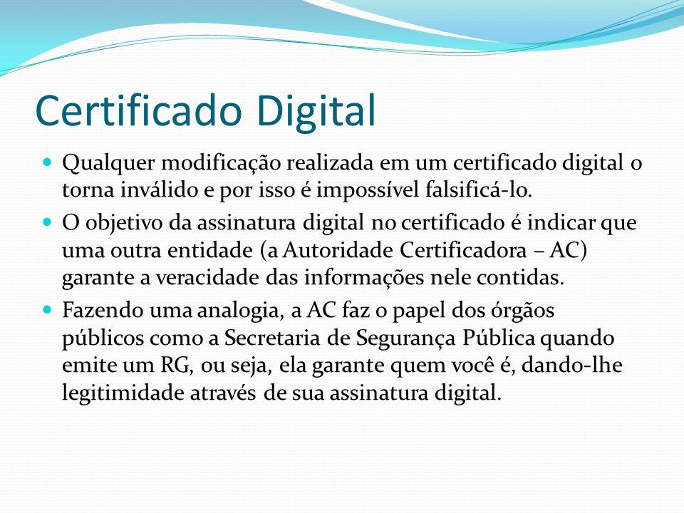 Certificado Digital  Qualquer modificação realizada em um certificado digital o torna inválido e por isso é impossível falsificá-lo.  O objetivo da