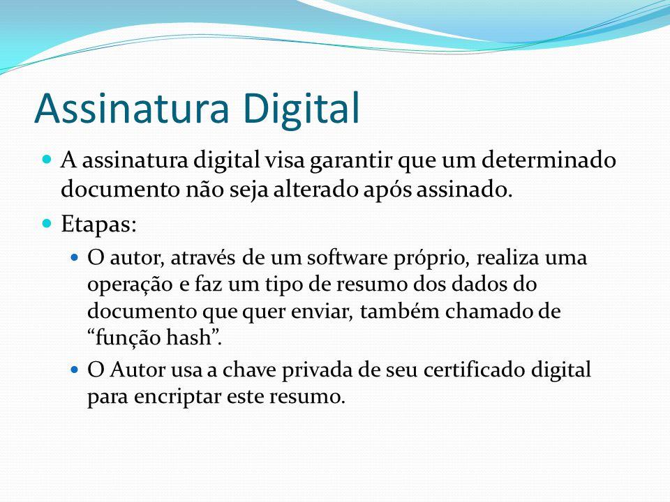 Assinatura Digital  A assinatura digital visa garantir que um determinado documento não seja alterado após assinado.  Etapas:  O autor, através de